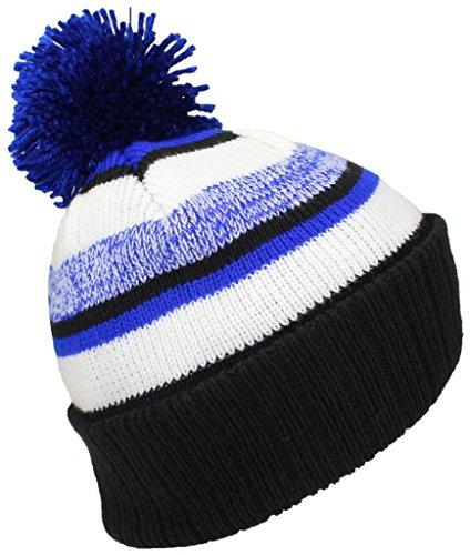 (Best Winter Hats Quality Striped Variegated Cuffed Beanie W/Pom (L/XL) - Black/Royal Blue/White)