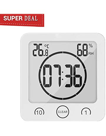 GuDoQi Thermometer Hygrometer Indoor Outdoor Thermo-Hygrometer Digital Battery-Operated Temperature Humidity Meter Large LCD Screen Time Week Calendar Clock 2 Mounting Options