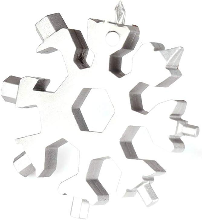 Lshylock 18-in-1 Stainless Steel Snowflake Multi-Tool Snowflake Tool Card 18-in-1 Multi-Tool Card Compact Snowflake Tool Multi Instrument Snowflake Tool