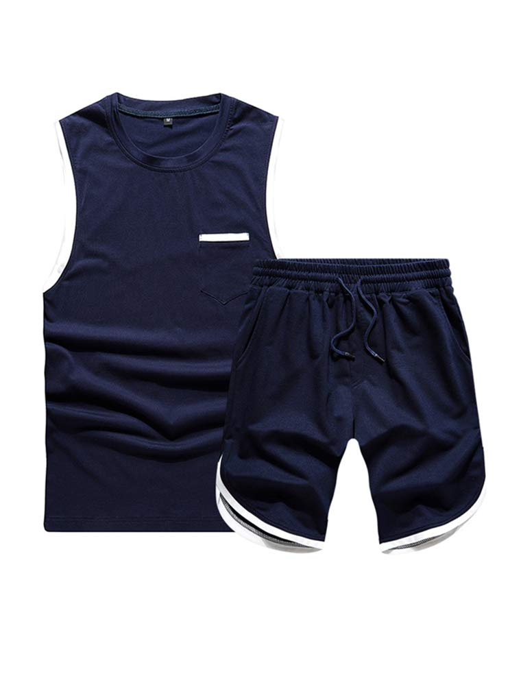 Lavnis Men's Casual 2-Pieces Tracksuit Running Athletic Sports Sleeveless T-Shirts and Shorts Suit Set Blue S by Lavnis