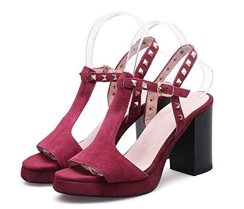 T remaches zapatos de tacón alto, sandalias de las mujeres gruesas sandalias impermeables Red