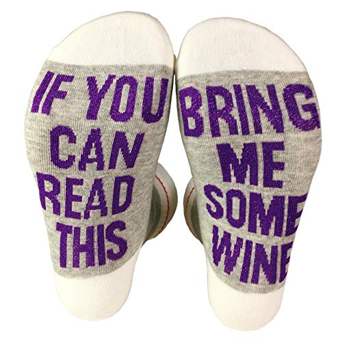 - Women's Funny Socks If You Can Read This Bring Me Some Wine Casual Novelty Tube Fun Sock