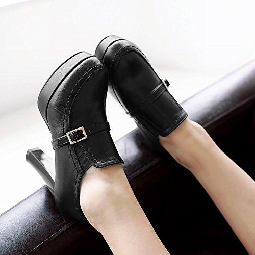Comfort Voet Dames Comfort Slip Op Platform Hoge Hak Enkellaarzen Zwart