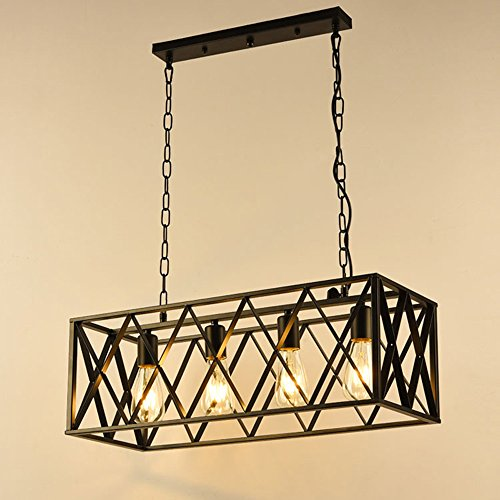 NIUYAO Vintage Chandeliers 4-Light Kitchen Island Chandelier Lighting Rectangle Rustic Pendant Lighting with Wire Metal Cage