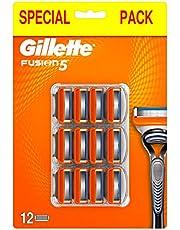 Gillette Fusion5 rakblad för män, 12 st, med 5 antifriktionsblad, för rakning som knappt känns