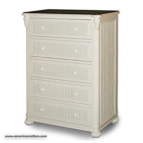 Soho White Wood and Wicker 5 Drawer Bedroom Chest of Drawers by Schober