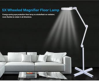 5x led magnifier lamp light with rolling floor stand adjustable