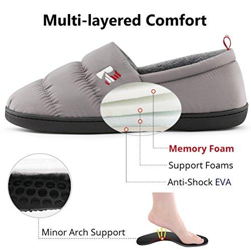 RockDove Mens Down Memory Foam Slippers Warm Fleece Lined Indoor Outdoor House Shoes Cloud Gray tMPQudmgi