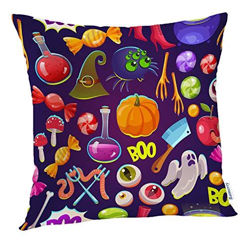 Batmerry Halloween Pillow Covers 18x18 inch, Halloween Funny Scary Hat Cartoon Apple Autumn Bone Boo Throw Pillows Covers Sofa Cushion Cover Pillowcase Home Gift]()