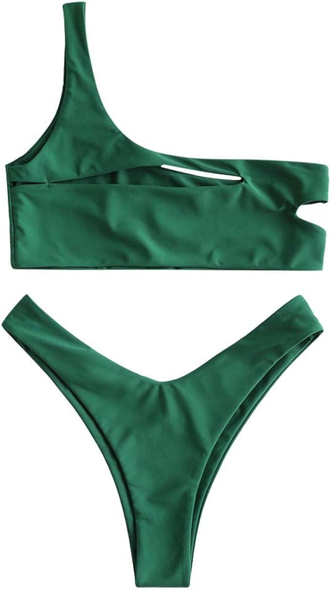 ZAFUL Womens Snakeskin One Shoulder Reversible High Cut Bikini Set