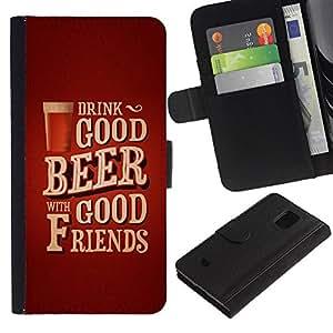 For Samsung Galaxy S5 Mini(Not S5), SM-G800 Case , Beer Friends Brown Poster Text - la tarjeta de Crédito Slots PU Funda de cuero Monedero caso cubierta de piel