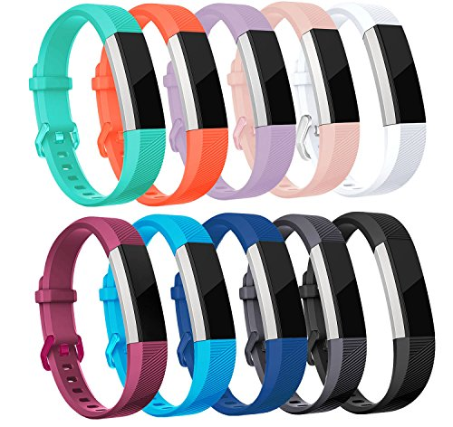 10k Pattern Bracelet - sunyfeel Newest Fitbit Alta HR/Ace and Alta Band Replacement, Fashion Sports Silicone Personalized Replacement Bracelet with Metal Clasp for Fitbit Alta HR/Alta (10 Pack)