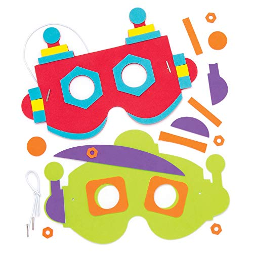 Baker Ross Robot Foam Mask Kits (Pack of 4) Assorted Colored Robot Masks for Kids to Wear at Party's and Dressing Up ()