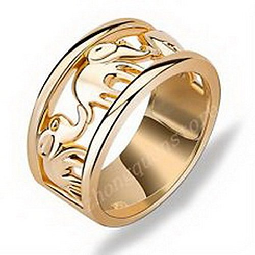 (jacob alex ring Size6 10KT Yellow Gold Filled Lucky Elephant Band Ring Fashion Jewelry)