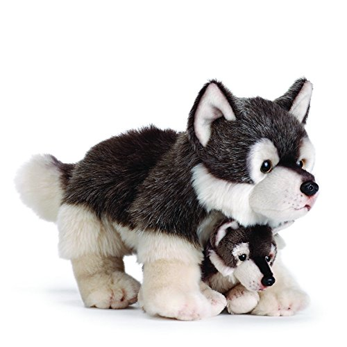Kids Stuffed Plush Animal - Nat and Jules Mommy Wolf and Pup Wintry Gray Children's Plush Stuffed Animal Toy Set of 2