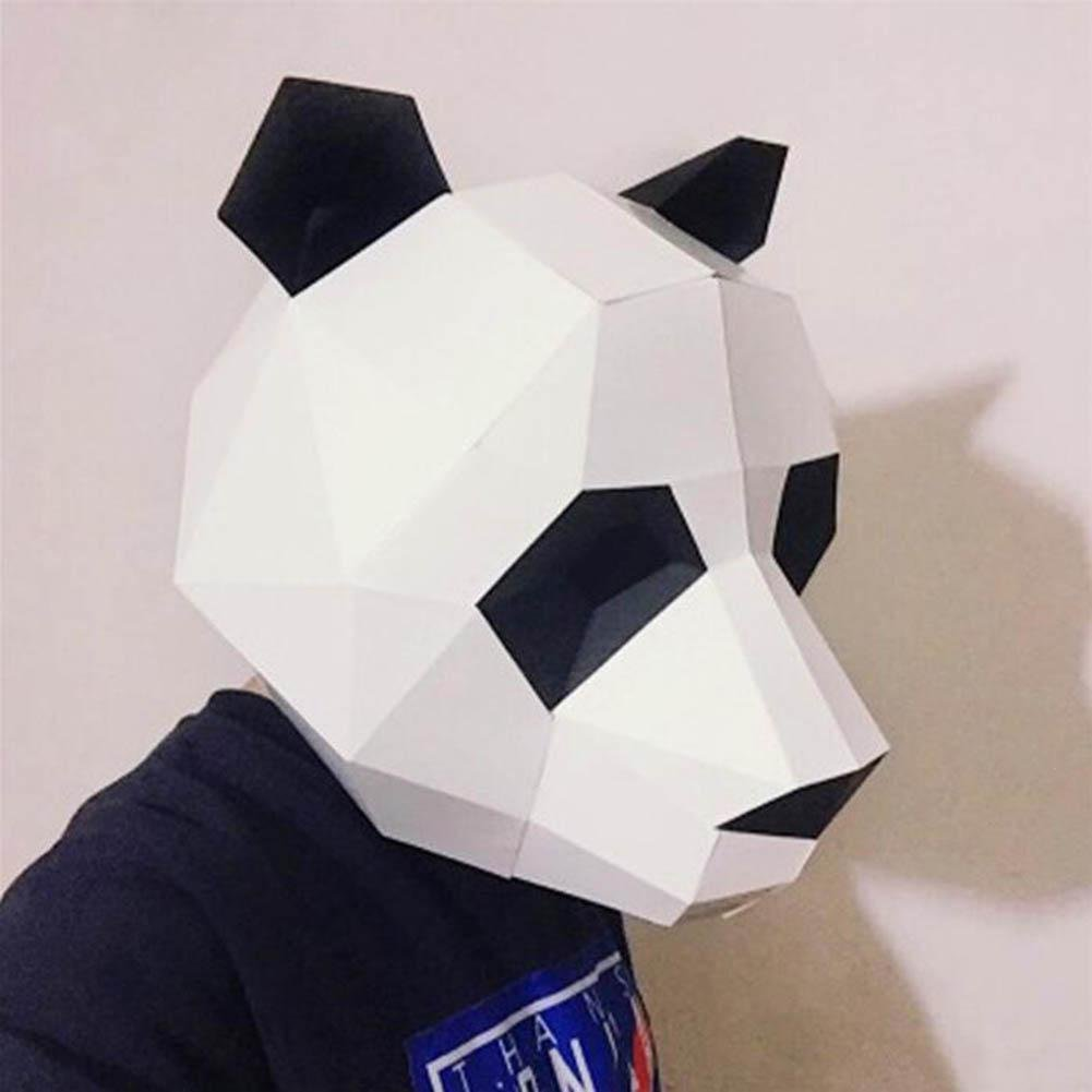 GORDESC 1 SET Panda 3D Puzzle Modelo de papel Lindo Partido Cosplay Animal Máscara Pandaman Origami Máscara Papel Mold Cartón DIY Suministros: Amazon.es: ...