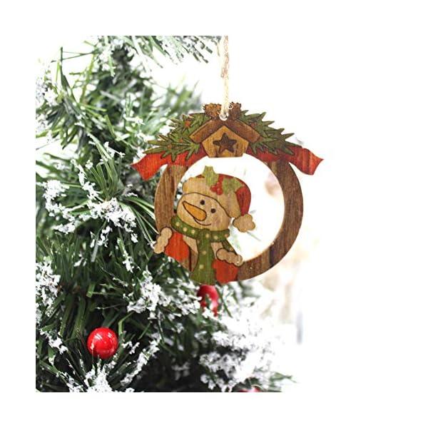 Set di decorazioni per alberi di Natale,12 pezzi in legno carino ornamenti per lavagna con pendente pendente con corde,3 pollici Modello di pupazzo di neve retrò di Babbo Natale per la decorazione 3 spesavip