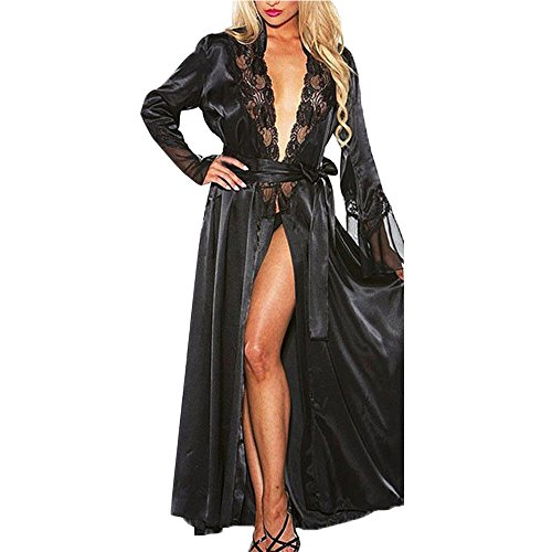 (GLVSZ Women Long Silk Kimono Dressing Gown Babydoll Lace Lingerie Bath Robe Black)