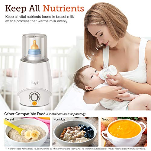 BabyX Fast Bottle Warmer For Breastmilk, Infant Formula, Baby Food Heater Quickly Warm and Sterilizer, Sanitize Pacifiers and Fits Most Bottle Size [Built-in Smart Temp. Controller]