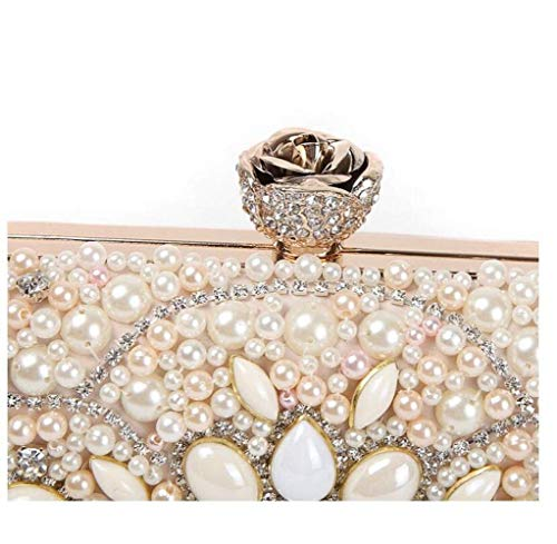 Novia Eeayyygch De Rosa Blanco Talla Rosa Única Mano Diseño Bolso Diamantes Color Para xaawrqI57