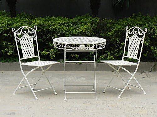MAXIOCCASIONI Juego de Mesa y Dos sillas de Hierro Blanco de jardín: Amazon.es: Hogar