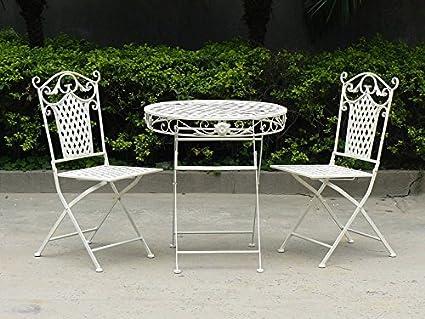 Sedie Da Giardino In Ferro : Set tavolo e due sedie in ferro bianco da giardino amazon