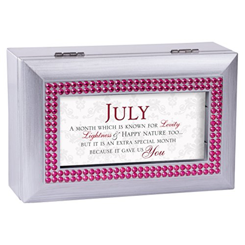 July Box (July Happy Nature Special You Birthstone Silver Petite Jewelry Music Box Plays Tune Wonderful World)