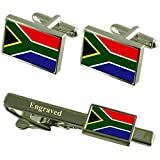 Select Gifts South Africa Flag Cufflinks Engraved Tie Clip Matching Box Set