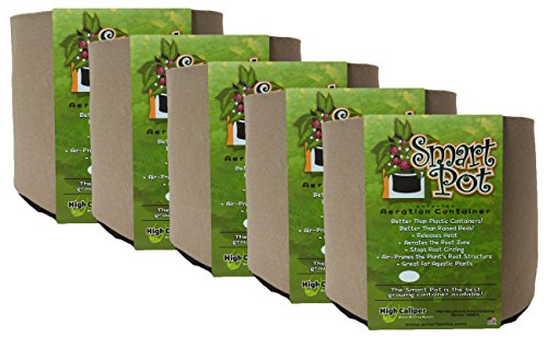Smart Pot 5 Pack Soft-Sided Fabric Garden Plant Container Aeration Planter Pots (Tan, 3 Gallon)