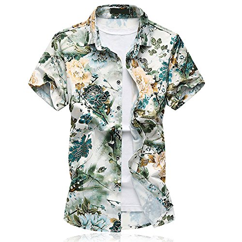 Shirt Hawaiian Street (WULFUL Mens Floral Short Sleeve Button Down Slim Fit Print Shirts Hawaiian Designs)
