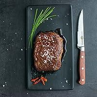 FOXEL Rústico Juego de 6 Cuchillos para Carne con Mango de Madera de Palisandro - Hoja Alemana de Acero Inoxidable Afilada Resistente a la oxidación - ...