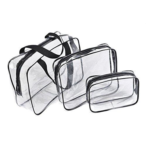Espeedy Bolsa de cosméticos PVC transparente bolsas impermeables de lavado de bolsos maquillaje bolsa belleza suministros marron