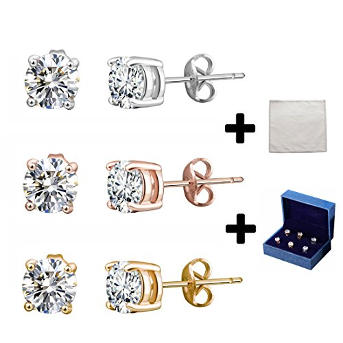 Silver Stud Earrings Black CZ Men Women 6mm Round Shape 3 Pairs With Gift Box (Rose Silver Gold) Diamond Shape Post Earrings