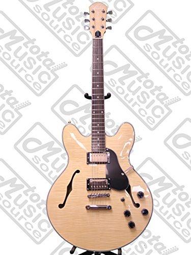 (Oscar Schmidt Delta King Semi Hollow Electric Guitar, 2 Pickups, Natural, OE30FN)