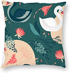 yyone Decorative Pillow Covers Elegant Swan Motif Theme Throw Pillow Case Cushion Cover Home Office Decor,Square 20 X 20 Inches