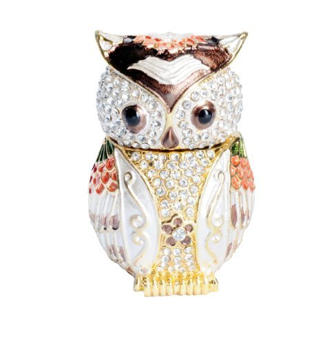 Lilly Rocket Collectible Box with Rhinestone Bejeweled Swarovski Crystals - White and Brown Owl