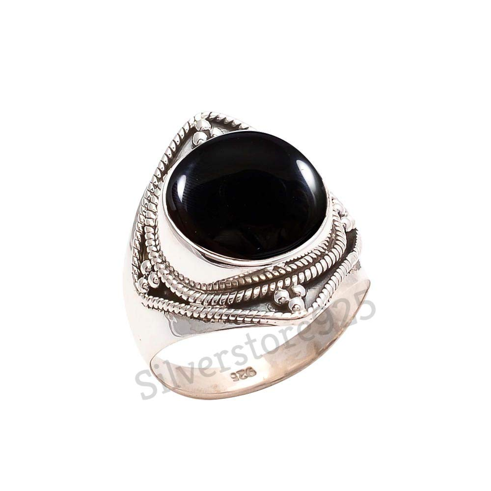 Black Onyx Ring 925 Sterling Silver Black Stone Gemstone Ring For Girl Women Gift Ring Size 4 5 6 7 8 9 10 11 12 13 14 15 16