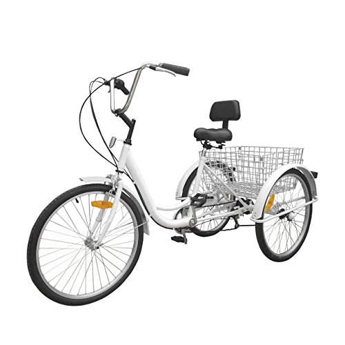 Ridgayard 6 Speed 24 Inch 3 Wheel Adult Tricycle Cruise Cargo Bike with Folding Basket (White)