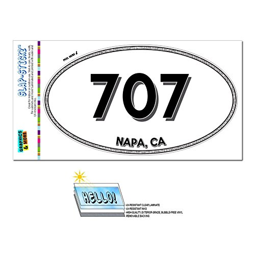 Graphics and More Area Code Oval Window Sticker 707 California CA Healdsburg - The Sea Ranch - Napa