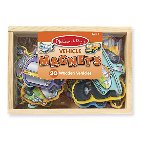 Melissa & Doug Wooden Vehicle Magnets in a Box (20 pcs) (Refrigerator Wooden Play)