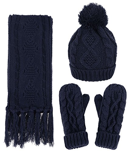 [ANDORRA - 3 in 1 - Soft Warm Thick Cable Hat Scarf & Gloves Winter Set,Navy] (Cowboy Adult Fringed Gloves)