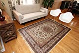 Silk Ivory Cream Traditional Isphan Area Rugs Ultra Low Pile 8'3 Round 250x250cm For Sale