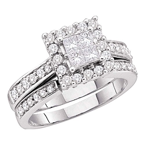 Size - 9.5 - 14k White Gold Diamond Ladies Womens Bridal Engagement Ring with Matching Wedding Band Two 2 Ring Set Invisible Solitaire Style Center Setting with Side Stones Channel Set Halo Princess and Round Cut Diamond Ring (1/2 cttw) (Invisible Set Diamond Bridal)