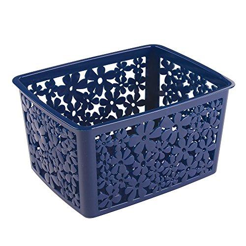 Mdesign floral bathroom vanity organizer bin for health for Navy bathroom bin