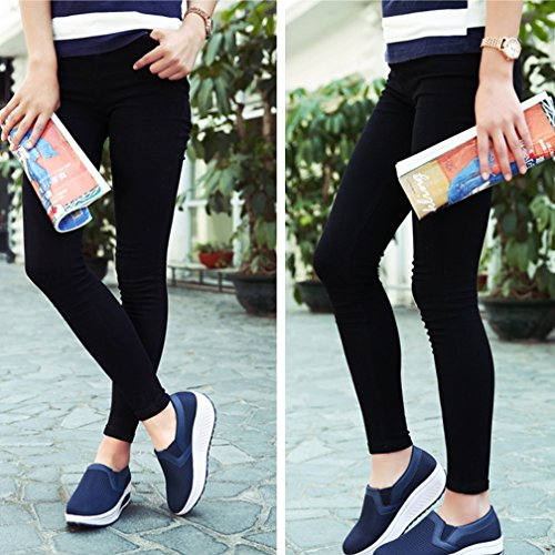 Zapatos Zapatilla de Azul Hishoes Zapatos de Running Andar Deporte Plataforma Deporte Mujer Malla dqgqfwX