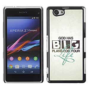 DREAMCASE Bible Quotes Hard Bumper Back Protection Case Cover For Sony Xperia Z1 Compact D5503 - GOD HAS BIG PLANS FOR YOU