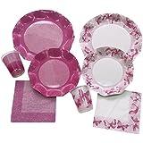 Ex.Tra. Pronto Party Coordinato Tavola, PS/Cartoncino, Bicolore/Farfalle Pink, 35 x 35 x 15 cm
