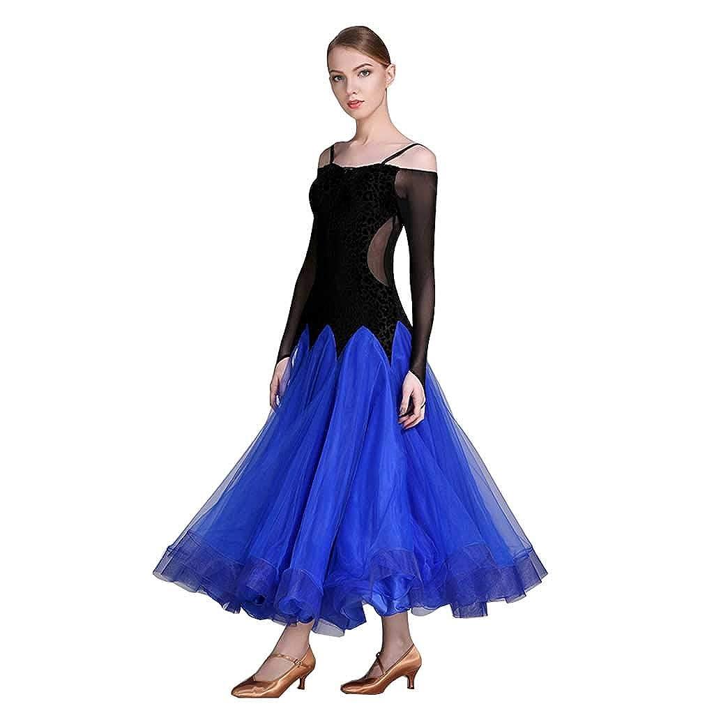 モダンダンススカートダンススカート、女性アダルトドレス B07HJ18MYR XL|ブルー ブルー XL