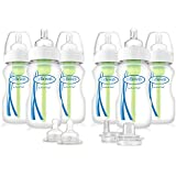 Dr. Brown's Options Wide-Neck Baby Bottles, 9 Ounce, 6 Count Plus 2 Bonus Level 2 Nipples and Sippy Spouts