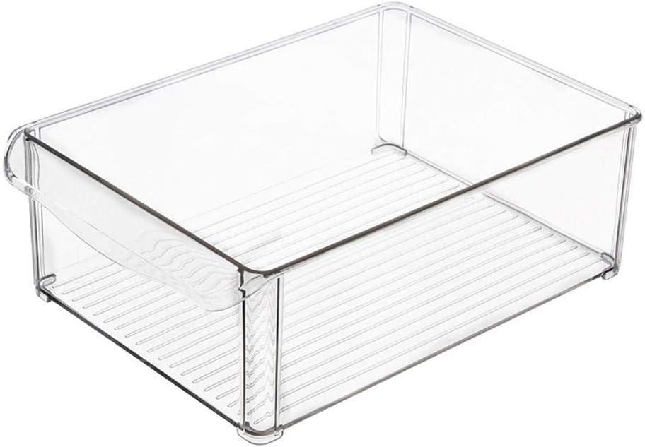 Cocina Almacenamiento Organizador Cajón para frigorífico cajón Frigorífico Caja se puede apilar plástico rectangular Pasta verduras Frutas Cocina Frigorífico compartimento 30 * 20 * 10 cm transparente